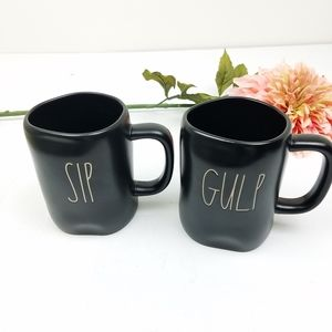 Rae Dunn matte black Sip and gulp mug set